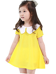 Girl's Casual/Daily Solid Dress,Cotton Summer Yellow