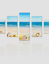 JAMMORY Canvas Set Landscape ,Five Panels Gallery Wrapped, Ready To Hang Vertical Print No Frame Castle Beach