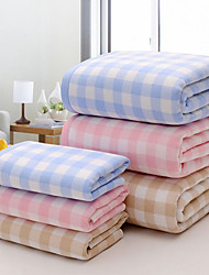 "1PC Full Cotton Bath Towel 27"" by 55"" Plaid Pattern Super Soft Strong Water Absorption Capacity"