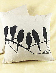 Birds Print Cotton/Linen Pillow Cover
