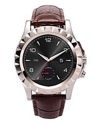 Men's Brown Leather Band Black Case Bluetooth Dress Watch