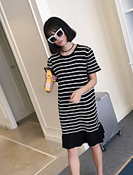Women's Casual/Daily Simple Tunic Dress,Striped Round Neck Above Knee Short Sleeve White / Black Rayon Summer
