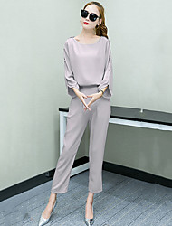 Women's Plus Size / Casual/Daily Vintage All Seasons Blouse Pant,Solid Round Neck Long Sleeve Pink / Gray Polyester Thin