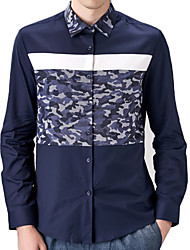 Men's Print / Camouflage Casual / Work / Formal / Sport / Plus Size Shirt,Cotton Long Sleeve Blue / White