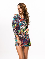 In Colour Women's Round Neck Long Sleeve Mini Dress-6520