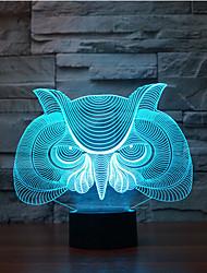 сова касания затемнением 3D LED ночь свет 7colorful украшения атмосфера новизны светильника освещения свет рождества