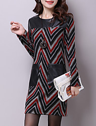 Women's Casual/Street chic Sheath Dress,Striped / Patchwork Round Neck Above Knee Long Sleeve Wool / PU Fall