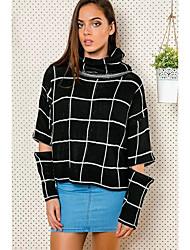 Normal Pullover Femme Décontracté / Quotidien Chic de Rue,Tartan Noir Col Roulé Manches Longues Polyester Hiver Fin