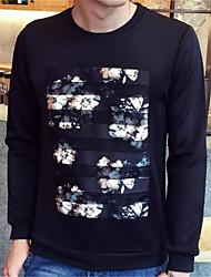 Pull à capuche & Sweatshirt Pour des hommes Fleur Décontracté Coton / Polyester Manches longues Noir / Blanc
