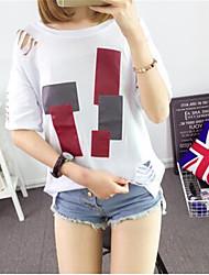 Damen Einfarbig Niedlich / Street Schick Ausgehen / Lässig/Alltäglich T-shirt,Rundhalsausschnitt Sommer Kurzarm Weiß / Grau Baumwolle