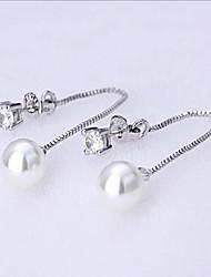 S925 silver shiny Pearl Earrings long tassel zircon