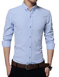Men's British Style Slim Polka Dot Long Sleeved Shirt,Cotton / Polyester Long Sleeve Blue / Pink / White