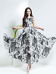 BORME® Damen Rundhalsausschnitt Ärmellos Maxi Kleid-Y028C