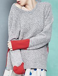 Damen Lang Pullover-Ausgehen Street Schick Solide Rot / Grau Rundhalsausschnitt Langarm Baumwolle Herbst Mittel Mikro-elastisch