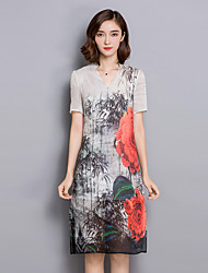 Women's Casual/Daily Simple Loose Dress,Floral V Neck Knee-length Short Sleeve White Linen Summer
