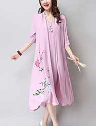 Women's Casual Ethnic Print Loose /Swing Dress,Print False two ½ Length Sleeve Pink /White Cotton /Linen Summer /Fall