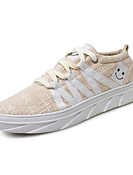 Da uomo-Sneakers-Casual-Comoda-Piatto-Lino-Nero Grigio Beige
