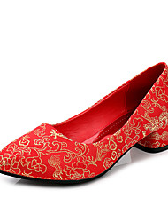 Women's Heels Fall Heels / Round Toe / Closed Toe Cotton Wedding Low Heel Others Red Walking