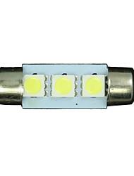 4X White 36mm 3 5050 SMD Festoon Dome Map Interior LED Light Lamp DE3175 3022 12V