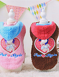 Dog Hoodie Pink / Coffee Winter / Spring/Fall Solid / Hearts / Letter & Number Casual/Daily Dog Clothes