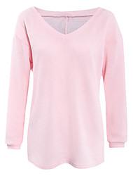 Damen Standard Pullover-Lässig/Alltäglich Einfach Solide Blau / Rosa / Weiß / Beige / Grau / Grün V-Ausschnitt Langarm BaumwolleHerbst /