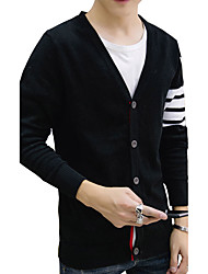 2016 new spring tide of Korean men's sweaters T-shirts loose sleeved stripe cardigan sweater M