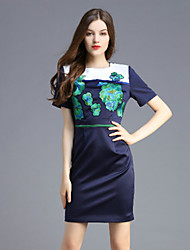 Boutique S Women's Casual/Daily Vintage Shift Dress,Embroidered Round Neck Above Knee Short Sleeve Blue Polyester Summer
