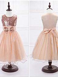 Ball Gown Tea-length Flower Girl Dress - Organza / Satin Sleeveless Jewel with Bow(s) / Sequins