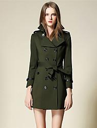 BURDULLY® Feminino Colarinho de Camisa Manga Comprida Trench Coat Verde-5116