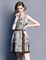 Gaine Robe Aux femmes Décontracté / Quotidien Vintage,Jacquard Col Arrondi Mini Sans Manches Gris Coton Eté