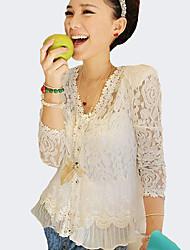 Damen Solide Sexy AusgehenV-Ausschnitt Frühling Sommer Herbst Langarm Weiß Polyester Dünn