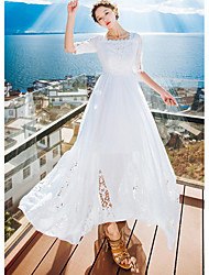 Women's Going out Cute Swing Dress,Embroidered U Neck Maxi ½ Length Sleeve White Polyester Summer