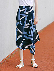 Women's Print Blue Skirts,Sophisticated Midi