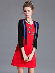 mulheres aofuli europa talão bordados bloco da cor do vintage plus size uma festa line / diária vestido / trabalho