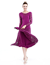 Imported Nylon Viscose with Lace Ballroom Dance Dresses for Women's Performance(More Colors)