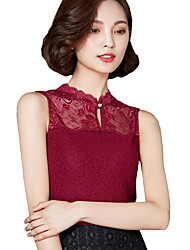 Summer Casual/Daily Women's Tank Top Solid Color Lace Stand Collar Splicing Slim Vest