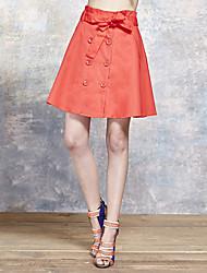 Damen Röcke - Niedlich Übers Knie Baumwolle Mikro-elastisch