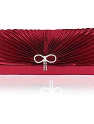 L.WEST Women's Handmade Fold Satin Diamonds Bowknot Evening Bag