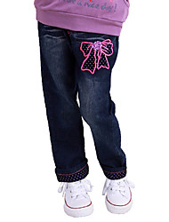 Girl's Cotton Spring/Autumn Fashion Bowknot Embroider Children Jeans