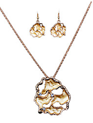 The New European Gold Alloy Diamond Necklace Earrings Set Personality