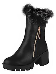 Damen-Stiefel-Kleid-Kunstleder-Blockabsatz-Modische Stiefel-Schwarz Rot Mandelfarben