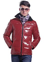 Lesmart Hombre Escote Chino Manga Larga Chaquetas Rojo-MDME10420
