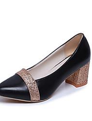 Damen-High Heels-Büro Kleid-PU-BlockabsatzSchwarz Silber Gold