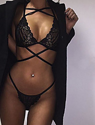 Women Lace Lingerie Nightwear,Sexy / Lace Jacquard-Thin Lace Black Women's