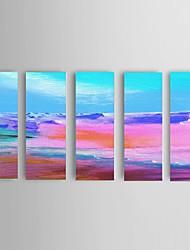 Pintados à mão Abstracto / Paisagem / Paisagens Abstratas Pinturas a óleo,Modern / Estilo Europeu 5 Painéis TelaHang-painted pintura a
