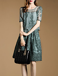 Women's Going out Sophisticated Sheath Dress,Solid Round Neck Above Knee Short Sleeve Green Rayon Spring