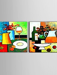 Ready To Hang Hand-painted Abstract Oil Painting Restaurant Wall Art Decorate Stretched Frame