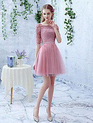 Short / Mini Lace / Tulle Bridesmaid Dress A-line Scoop with Lace