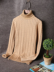 Men's Solid Casual / Work / Formal Cardigan,Cotton / Spandex Long Sleeve Black / Blue / Brown / Red / Beige / Gray