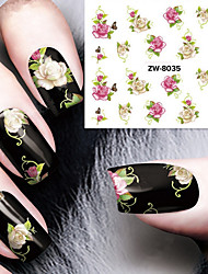 Fashion Printing Pattern Water Transfer Printing Gouache Flower Nail Stickers